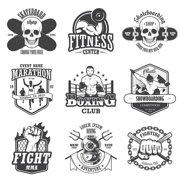 ビンテージスポーツエンブレム、ラベル、バッジ、ロゴのセットです。モノクロスタイル 無料ベクター