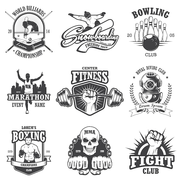 빈티지 스포츠 엠블럼, 라벨, 배지 및 로고의 집합입니다. 단색 스타일 무료 벡터