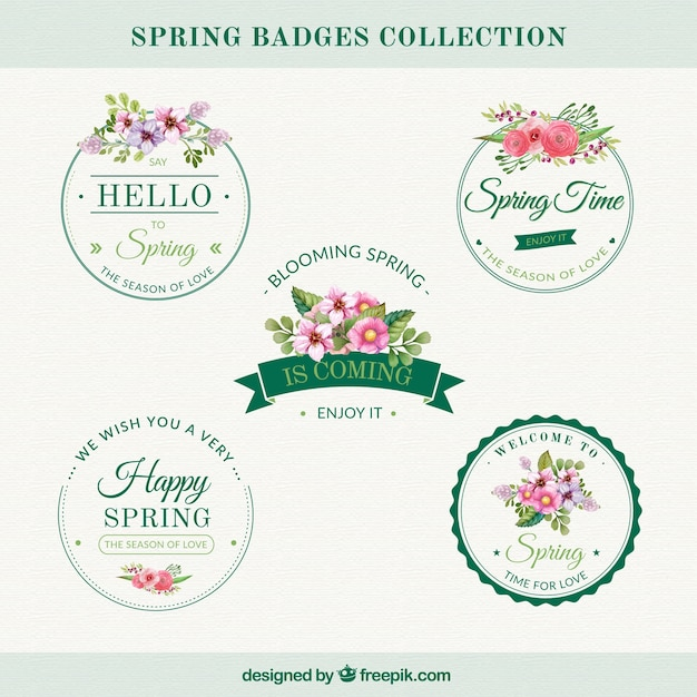 Set of vintage stickers with flowers Free Vector