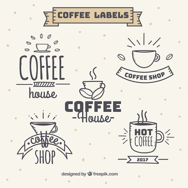 Set of vintage style coffee stickers Free Vector