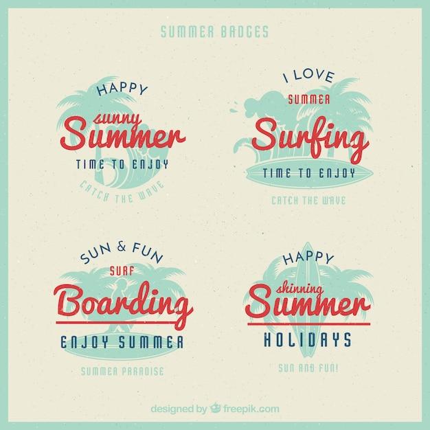 Set of vintage summer badges with red\ details