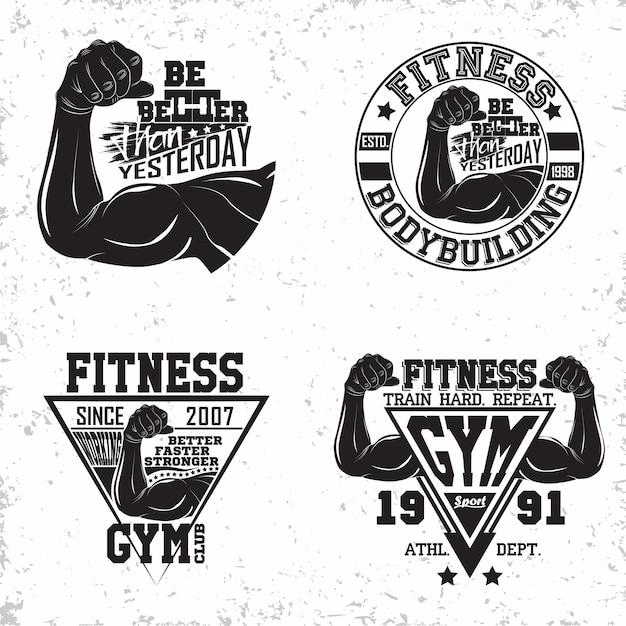 Набор графических дизайнов винтажных футболок, марок с принтом гранжа, эмблем для фитнеса, спортивного логотипа спортзала креативный дизайн Premium векторы