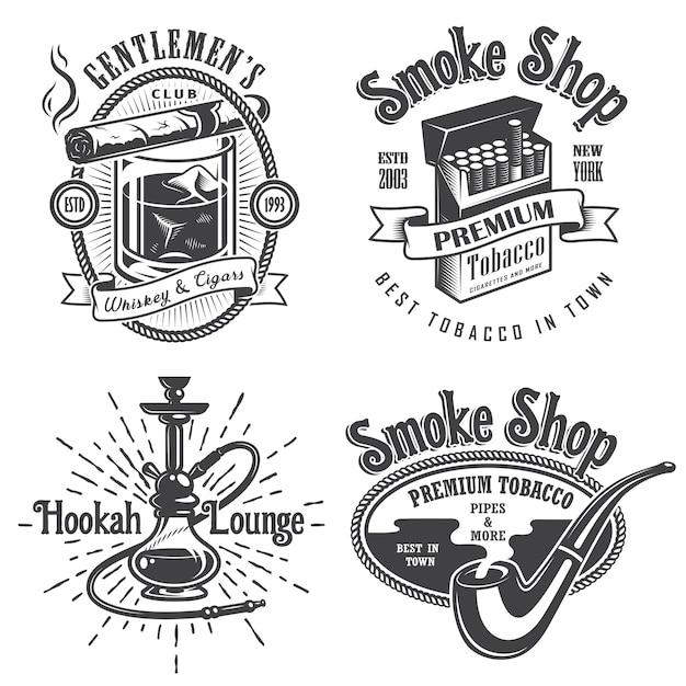 ビンテージタバコ喫煙エンブレム、ラベルのセット。バッジとロゴ。モノクロスタイル。白い背景で隔離 無料ベクター
