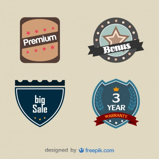 Set of Vintage Warranty Labels Free Vector