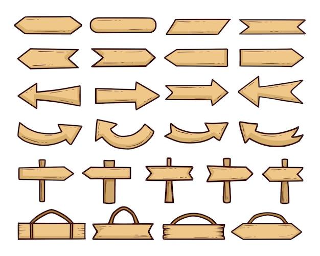 Набор старинных деревянных знаков Premium векторы
