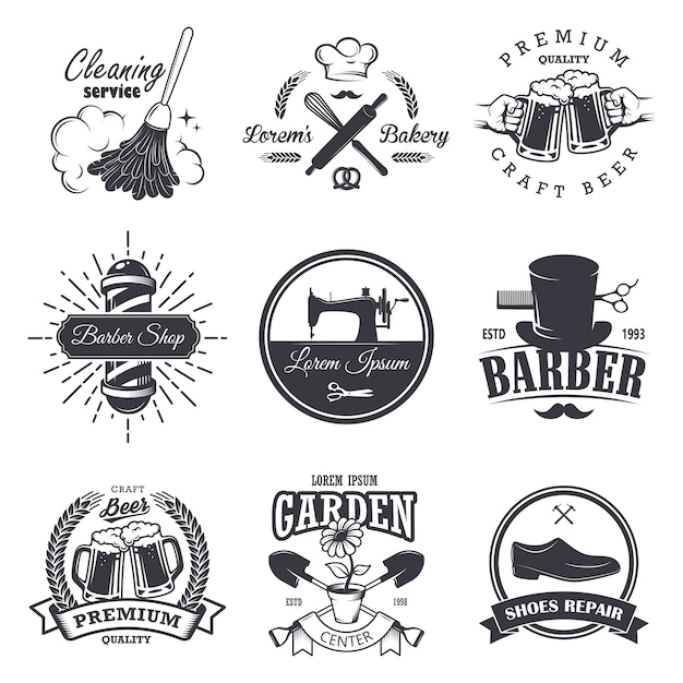 Набор старинных мастерских эмблем, этикеток, значков и логотипов, монохромный стиль Бесплатные векторы