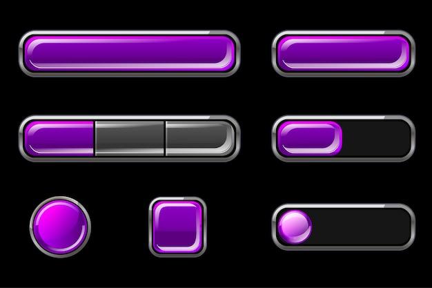 ユーザーインターフェイス用の紫色の空の光沢のあるボタンのセット 無料ベクター