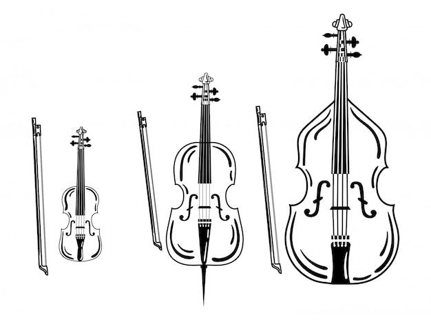 バイオリンのセットです。弓楽器のコレクション。図。 Premiumベクター