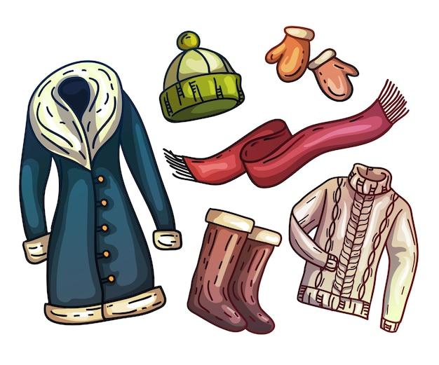 暖かい冬の服とアクセサリーのセット。おしゃれなセット服。スカーフ、冬用帽子、冬用コート、ブーツ、ファー付き暖かい手袋 Premiumベクター
