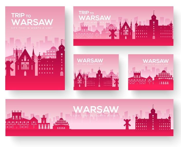 Набор варшавский пейзаж страны орнамент путешествия тур Premium векторы