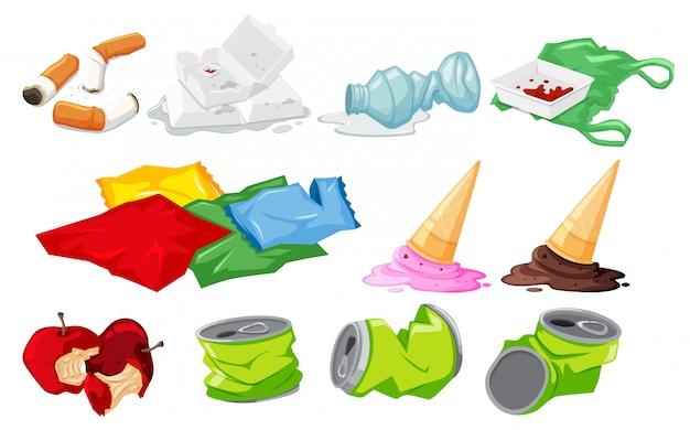 Набор элементов отходов Бесплатные векторы