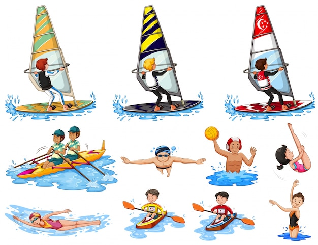 Set of water sports illustration