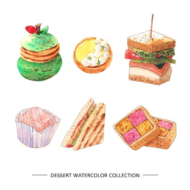 Набор акварели и рисованной иллюстрации десерт Бесплатные векторы