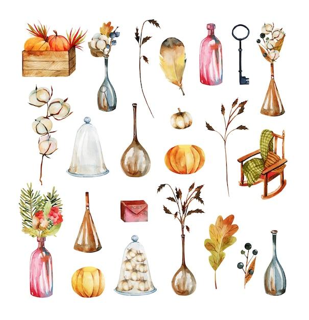 Набор акварельных осенних элементов и объектов листья, цветы хлопка, осенние букеты, осенние ягоды, тыквы, бутылки и уютное кресло Premium векторы