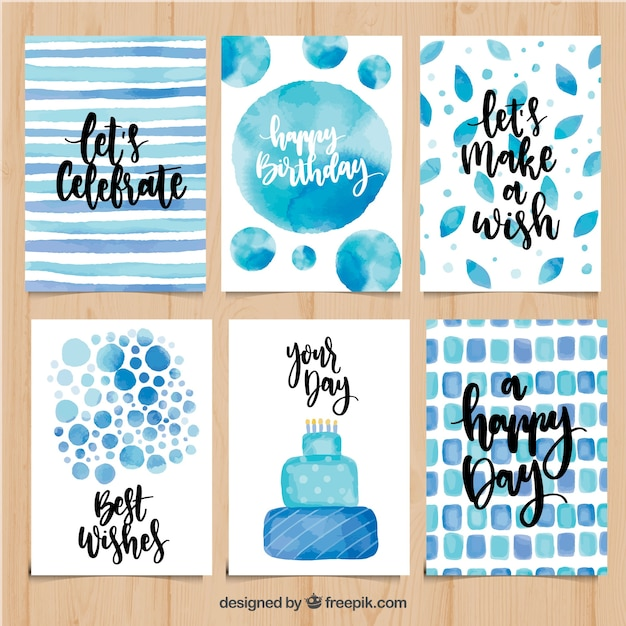Set of watercolor birthday cards in blue tones