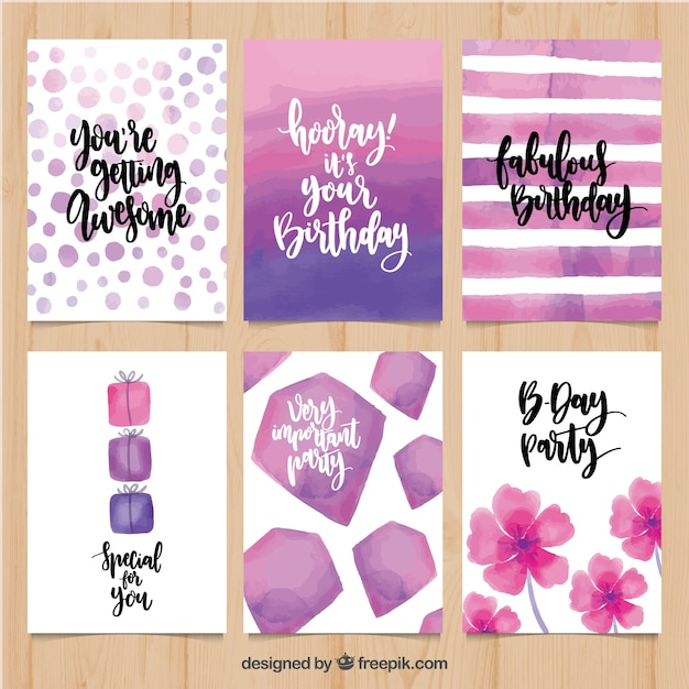 Set of watercolor birthday greetings in vintage style