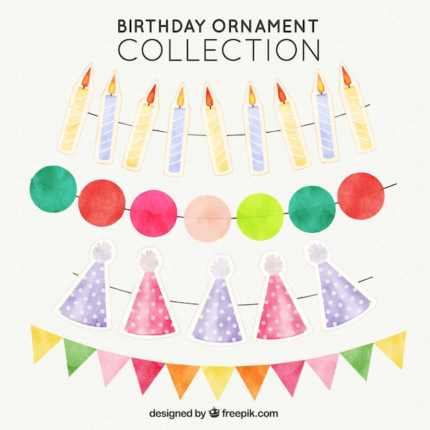 set of watercolor birthday ornaments vector free download