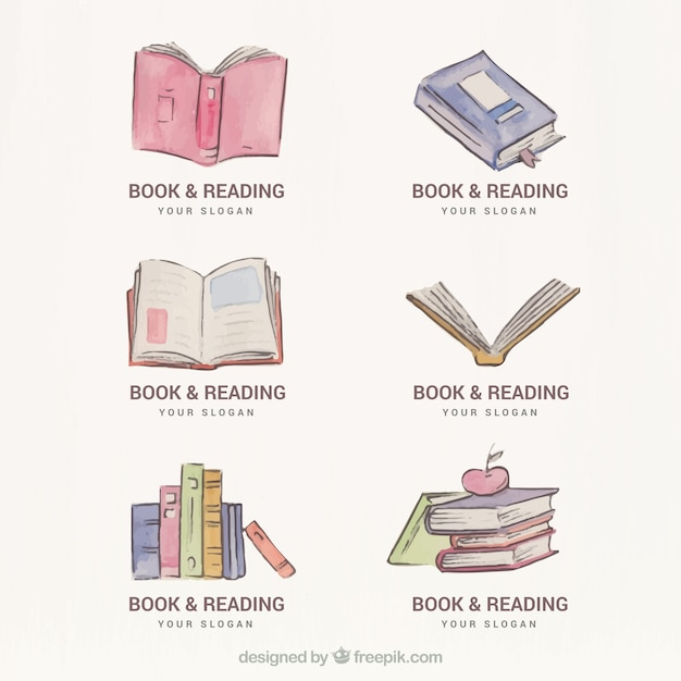 Set of watercolor book logos free vector