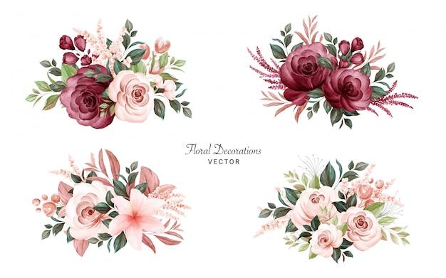 부드러운 갈색과 부르고뉴 장미와 나뭇잎의 수채화 꽃다발의 집합입니다. 프리미엄 벡터