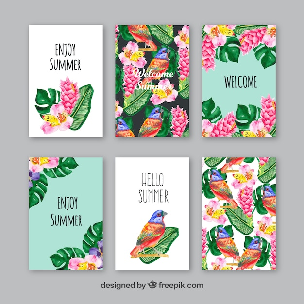 Set of watercolor cards with birds and\ leaves