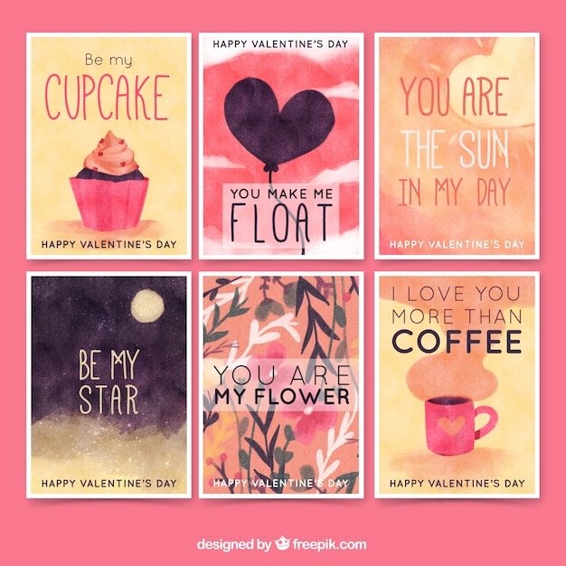 Set of watercolor cards with love messages Free Vector