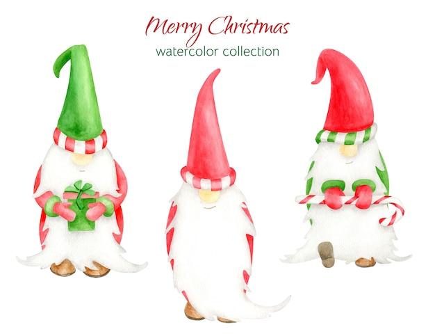 水彩画のクリスマスのノームのセット Premiumベクター