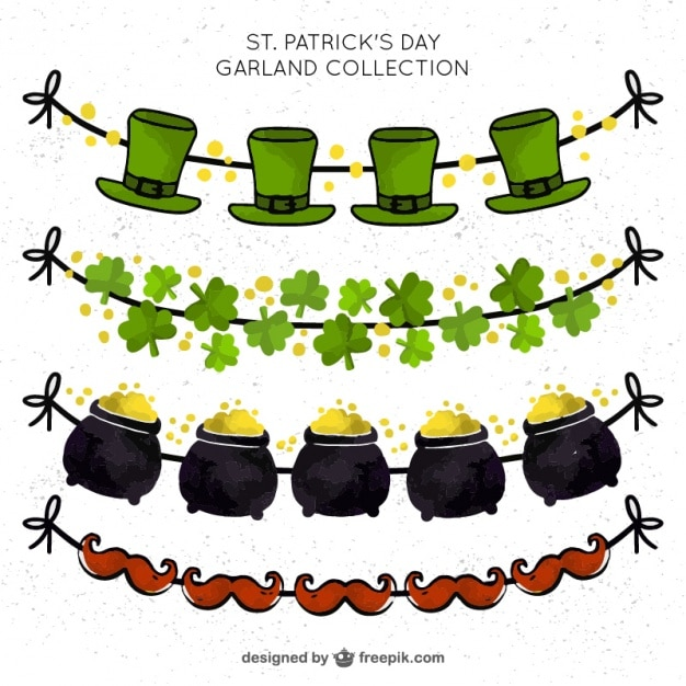 Set of watercolor decorative saint patrick garlands