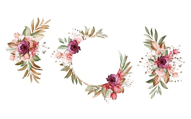 茶色とバーガンディと茶色のバラと葉の水彩画のフラワーアレンジメントのセットです。 Premiumベクター