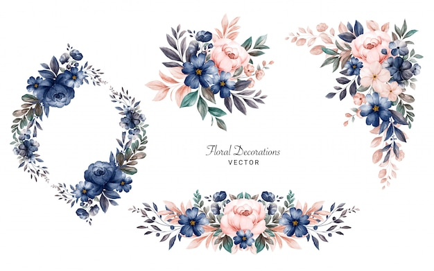 ネイビーとピーチのバラと葉の水彩画の花のフレームブーケのセット。 Premiumベクター