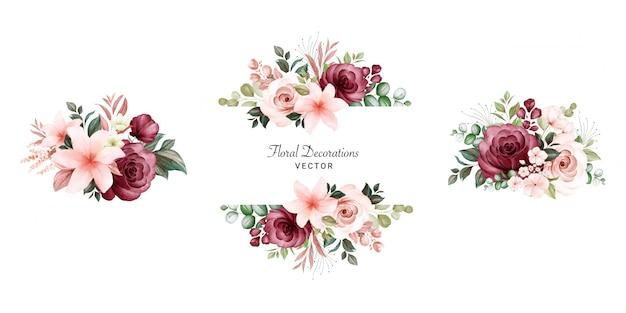 복숭아와 부르고뉴 장미와 나뭇잎의 수채화 꽃 프레임 부케 세트. 프리미엄 벡터