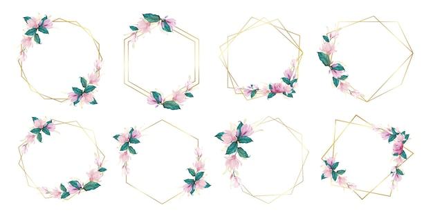 結婚式のモノグラムのロゴとブランドのロゴデザインの水彩画の花のフレームのセット 無料ベクター