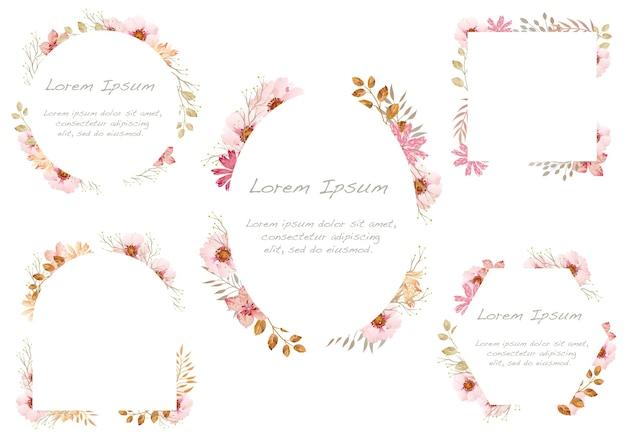Набор акварельных цветочных рамок, изолированных на белом фоне. . Бесплатные векторы