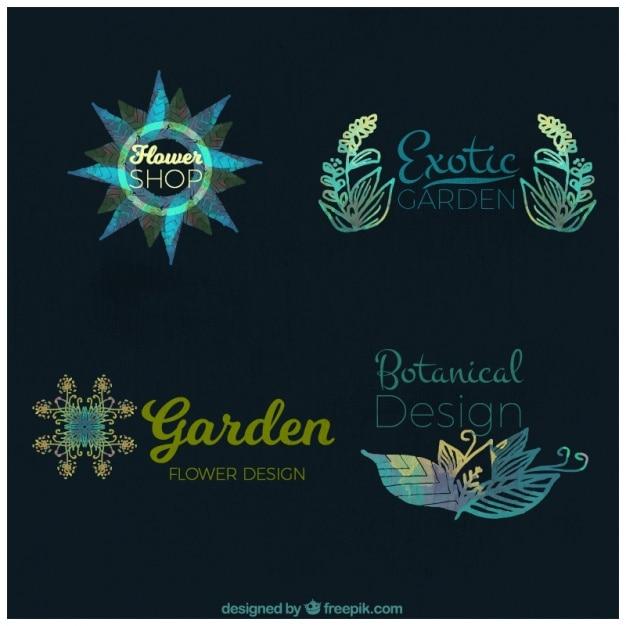 Set of watercolor floral logos