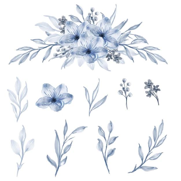 水彩花とリーフブルーのセット 無料ベクター