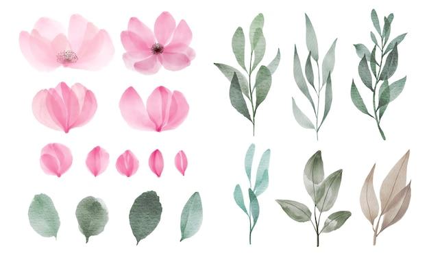 Набор акварельных цветов и листьев для украшения поздравительных открыток и пригласительных билетов. Бесплатные векторы