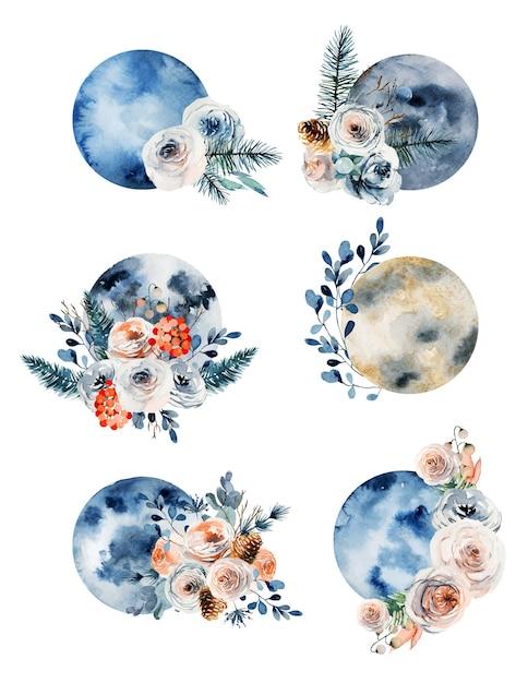 ヴィンテージの花の装飾の水彩満月のセット Premiumベクター