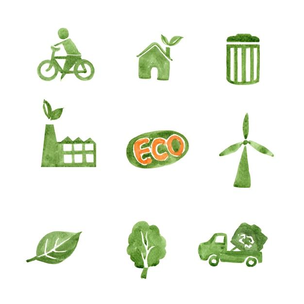 Набор акварели зеленой зоны, рисованной иллюстрации элементов изолированы Бесплатные векторы