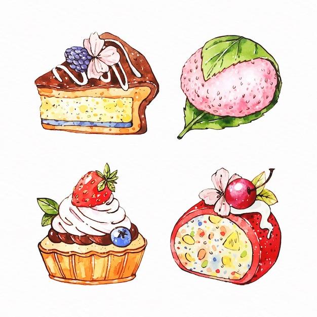 水彩の和菓子のセット 無料ベクター