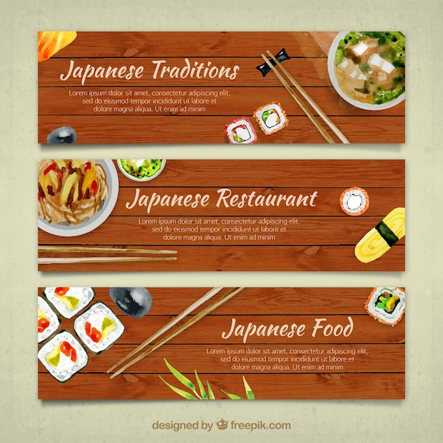 Set of watercolor japanese food banners stock images page everypixel forumfinder Images