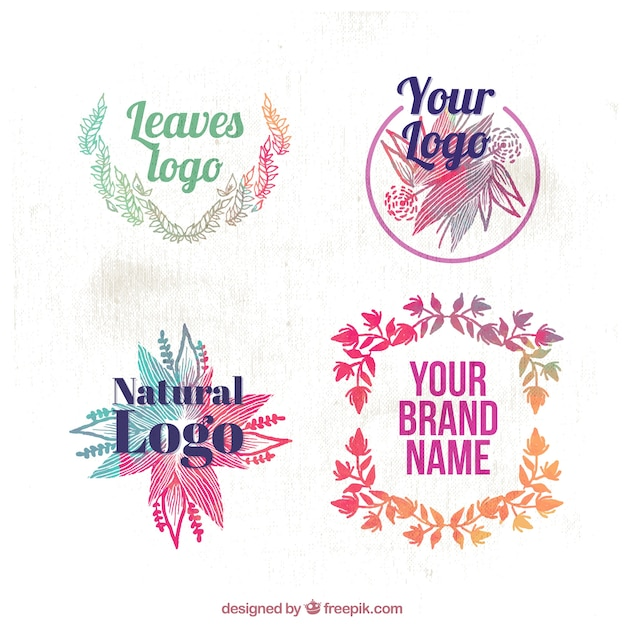 Set of watercolor logos with floral details