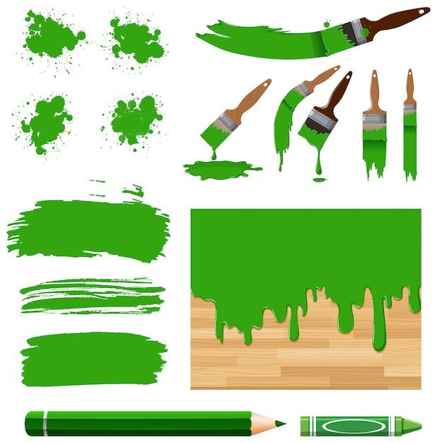 Набор акварели в зеленом с оборудованием Premium векторы