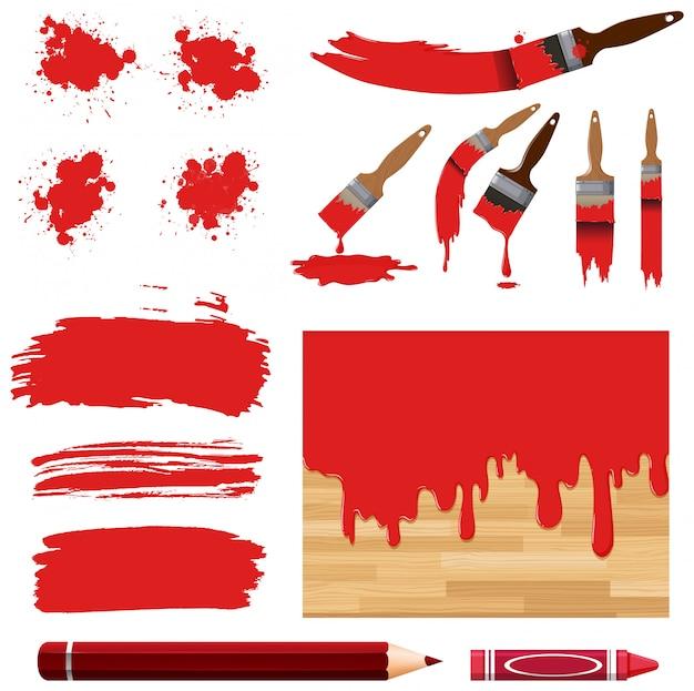 Набор акварельной живописи в красном с оборудованием Premium векторы