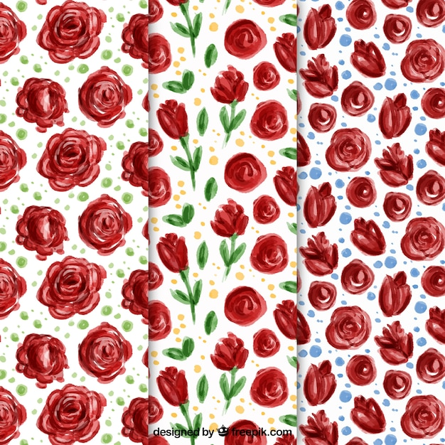 Set of watercolor roses patterns