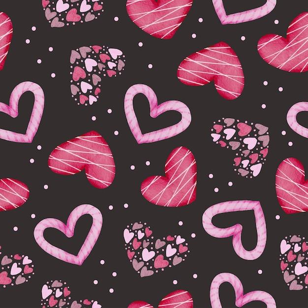 격리 된 수채화 발렌타인 개념 요소 장식, 그림에 대 한 사랑스러운 로맨틱 레드-핑크 하트 검은 배경에 분홍색과 빨간색 하트와 수채화 완벽 한 패턴의 집합입니다. 무료 벡터