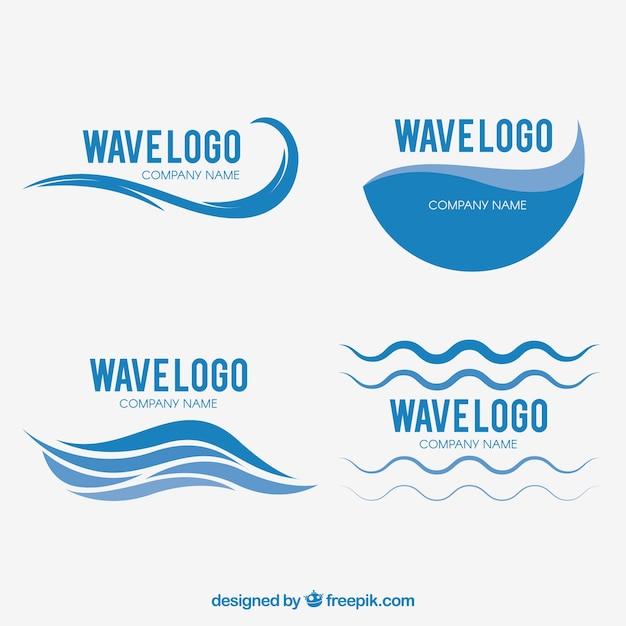 set of wave logos vector free download