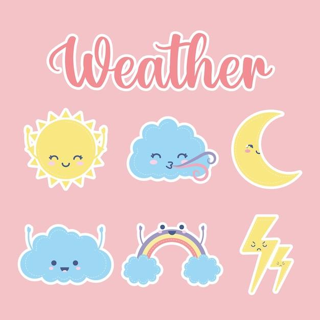 핑크 일러스트 디자인에 날씨 글자와 날씨 아이콘 세트 프리미엄 벡터