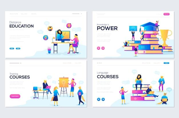 Набор шаблонов веб-страниц для консультаций, обучения, дистанционного обучения, языковых курсов. Premium векторы