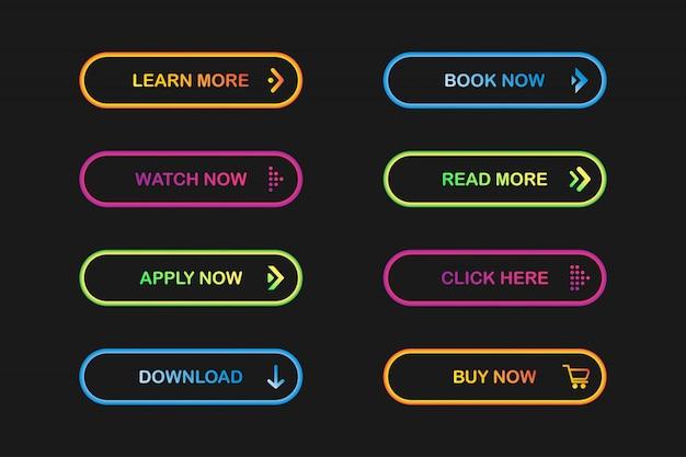 Webサイトのボタンのセット。 Premiumベクター