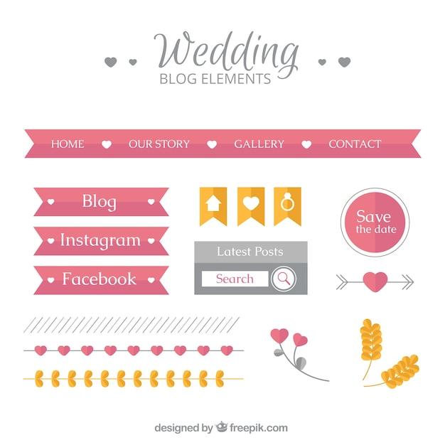 Set of wedding blog elements in flat design vector free download set of wedding blog elements in flat design free vector junglespirit Image collections