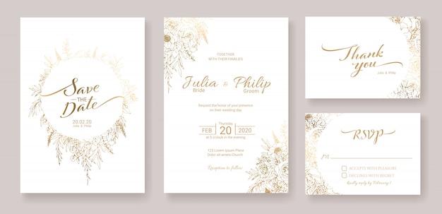 결혼식 초대 카드 템플릿 집합입니다. 금 꽃. 프리미엄 벡터